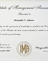 Сертификат Institute of Management Accountants